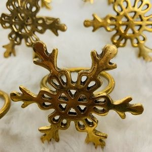 Other - Set of 8 Gold Brass Snow Flake Dinner Napkin Rings